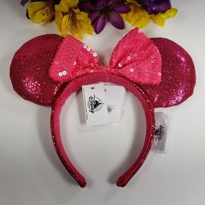 Disney Parks Minnie Hot Pink Sequin Ears, New